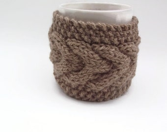mug cozy knitted mug warmer brown cup cozy