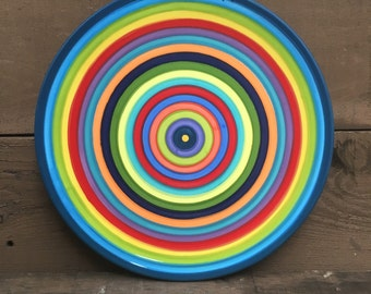 Extra Large Colorful Serving Platter - Rainbow Striped Plate - Dark Royal Blue Rim