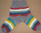 Hand knitted SOCKS KIDS Children Boy Girl Unisex  size 8-12 years old Leg Warmers Slippers