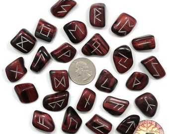 Small Red Tigers Eye Rune Set Hand Carved Elder Futhark With Manual & Pouch