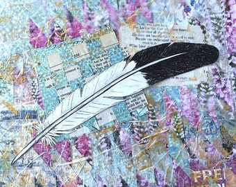Eagle Feather, Pen sketch on collage paper, Bible verse art