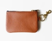 Leather coin purse, Leather wallet, Leather pouch, Leather zipper change purse, Cinnamon leather pouch, Gift for her, Bridemaids gift