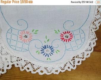 ON SALE 20% OFF Vintage Embroidered Doiley Set of 2