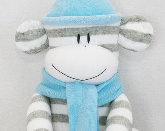 Stuffed Toys, Sock Monkey Doll Grey and White Stripes with Light Blue Hat, Stuffed Animal, Kids