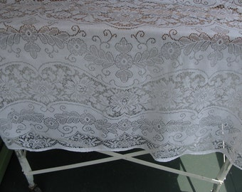 Vintage White Lace Tablecloth, Shower, Wedding decor, oblong, oval