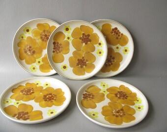 Vintage Salad Dessert Plate, Stoneware, Minstrel, Denby, 70s, floral, yellow