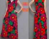 70s vtg maxi flower dress