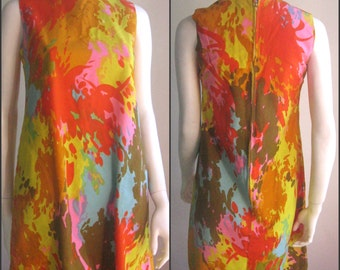 60s vintage painterly dress