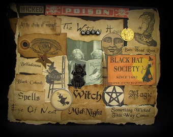 Witch Halloween, Halloween #91, Witch Halloween Card, Collage Card, Halloween Note Card, Black Card, Wicca, Single Card, Handmade Card