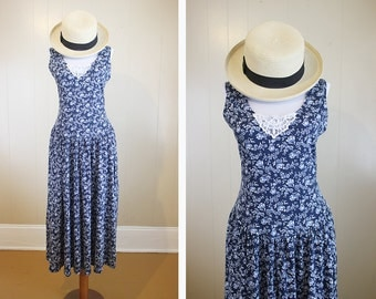 Blue Floral Dress Vintage Prairie 80s Lace Maxi Knit Large