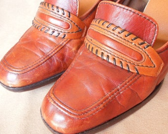 LAST CHANCE SALE Vintage 80's Rust Loafers, High Heel Slip On Shoes, Preppy Caramel Brown, Stacked Wood Heels, Size 6