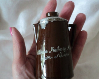 Vintage Ceramic Brown Coffee Pot  Salt or Pepper Shaker. Illinois Railway Museum, Union, Illinois. Made in Japan.