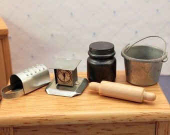 Lot Miniature Dollhouse Kitchen Accessories Primitive Food Scale Rolling Pin Grater