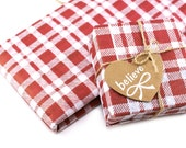 24 sheets holiday Red & White Plaid Tissue paper- 15 x 20 inch 100% recycled tissue