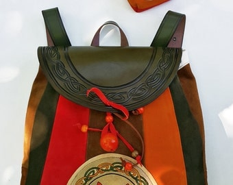 "A Suede Backpack ""Foxy"" With An Additional Suede Pouch"