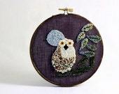 Ready to Ship! Owl with Full Moon Eco Friendly Punch Needle Embroidery Hoop Art. 5 Inch Embroidery Hoop. Bird, Woodland. Grey, Cream, Green