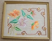 Antique Arts & Crafts Silk Embroidery Linen Pillow Cover Case in Frame Flowers