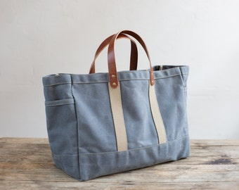 No. 175 Tool / Garden Tote in Slate Waxed Canvas