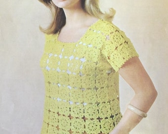 Vintage 1960's Crochet Pattern for a Sleeveless Top Patons 7646
