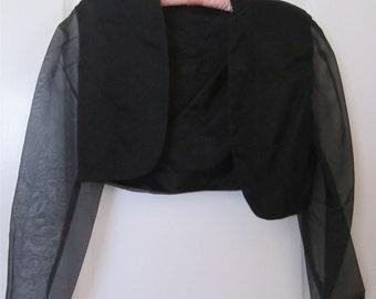 Vintage Black Organza Bolero Jacket