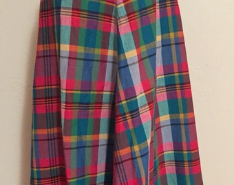 Vibrant Colorful Plaid Cotton Vintage LIZWEAR Side Button Skirt M