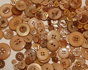50 Brown Buttons Mocha, Taupe Brown, Tan, Sewing, Crafting Jewelry Collect (1557)