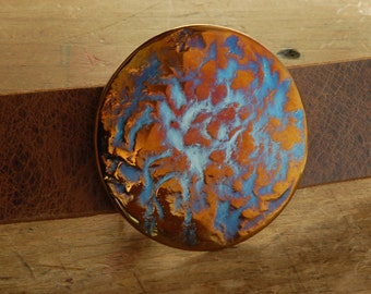 "Round Designer Belt Buckle Signed Original Hypoallergenic Unisex Buckle Gold Orange Blue Anvil Hand Forged Stainless Steel Fits 1.5"" Belt"