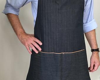 Sale   Full Apron Man Denim Apron Italian Denim Indigo Stripes Apron Selvedge Denim Custom Apron