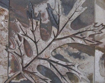 6x6 Autumn Black Oak Leaf Tile - Etched Dark Autumn Slate Stone Decorative Tile -- SRA