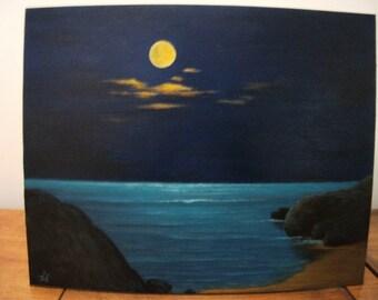 Moon, Ocean, Sea, Night, Lake, Beach,Sand, Waves, Original Landscape Oil Painting