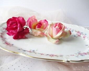 Vintage Serving Platter Edelstein Florence Pink Blue Floral