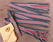Handwoven Wool Sash, Mountain Man Sash, Carrying Strap, Historic Costume