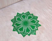 Christmas Tree Crochet Lace Doily, Green, Holiday Table Decoration, Nature Inspired Home Decor