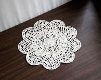 Art Deco Crochet Lace Doily, Great Gatsby Decor, Ecru Table Topper, New Sophisticated Home Decor