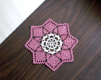 Dusty Rose Lace Crochet Doily, Cottage Chic, Pink Party Decor, New Table Accessory, Modern Home Decor, Unusual Design