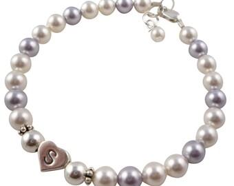 Flower Girl Bracelet- Lavender & White Swarovski Pearl Flower Girl Jewelry Bracelet Gift for the Wedding