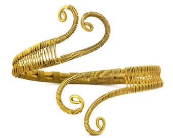 Brass Arm Band, Wire Arm Bracelet, Gold Armlet, Boho Arm Cuff, Upper Arm Cuff, Bridal Arm Bangle, Upper Arm Bracelet, Arm Jewelry