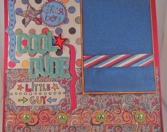 COOL DUDE 12x12 Premade Scrapbook Page Layout Boys Teenager