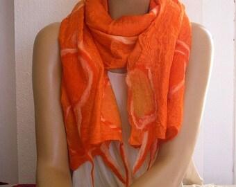 orange felted silk scarf