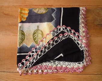 black scarf, crochet trim, turkish oya