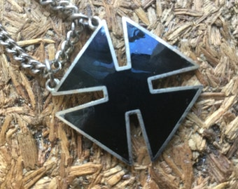 1960s Black enameled surfer Cross – Rare - I am a surfer - EPSTEAM - Beach Bum - Gothic - Hawaiian California surfer – beach jewelry