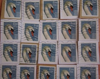 25 Irish Mute Swan 70 eurocent Cancelled Postage Stamps on Paper