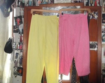 1950s '60s Yellow Capris and Pink Pedal Pushers sz petite