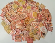 Vintage Worldwide Off Paper Used Orange and Yellow Postage Stamps, Vintage Ephemera Stamps, 50 Piece Lot Postage Stamps, Foreign Postage