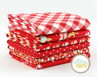 "Vintage Picnic - Red - Fat Quarter  Bundle - 6 - 18""x21"" Cuts - Bonnie and Camille - Moda Quilt Fabric"