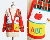 Vintage 80s ABC 123 Graphic Cardigan / 1980s Novelty School Sweater, s m