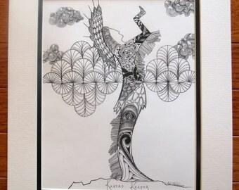 """Zentangle Inspired Art, """"Kansas Keeper'  8 X 10 Matted Print"""