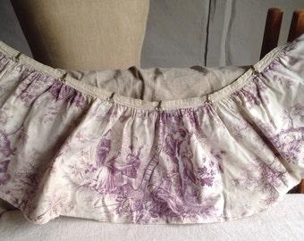 Antique French Fabric Valance Vintage Toile De Jouy Textile Rare Mauve Lilac Textile Decorative Antique RARE