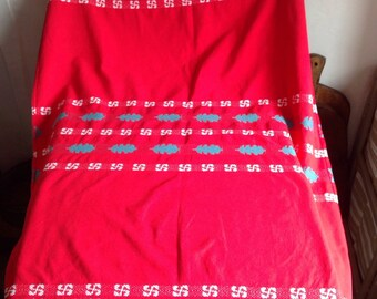 """Vintage Table Cloth / French Cottob Fabric / Red White Green Home Decor. French Furnishings & Home Decor (39"""" x 55"""")"""