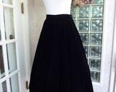 Vintage 50s 1950s Julian Beller Black Velvet Full Circle Tea Length Skirt M Medium